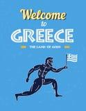 Reis naar de Affiche van Griekenland - grappige de agentstrijder van Griekenland Royalty-vrije Stock Foto's