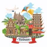 Reis naar de affiche van Vietnam met vliegtuig stock illustratie