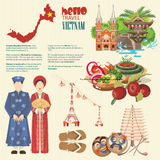 Reis naar de infographic affiche van Vietnam royalty-vrije illustratie