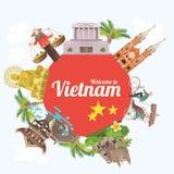 Reis naar de kaart van Vietnam met rode cirkel en gezichten stock illustratie