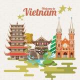 Reis naar de kaart van Vietnam met Vietnamese pagoden vector illustratie