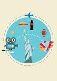 Reis naar de V.S. Dekking voor brochure of kaart, affiche of sticker Vector illustratie stock afbeeldingen