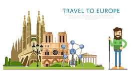 Reis naar Europ-banner met beroemde aantrekkelijkheden Stock Foto