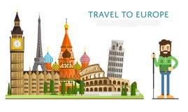 Reis naar Europ-banner met beroemde aantrekkelijkheden Stock Afbeelding