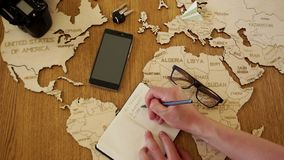 Reis naar Europa, de organisatie van de reis aan Duitsland en Spanje De man en de vrouwen op kantoor beslissen te reizen Een hout stock videobeelden