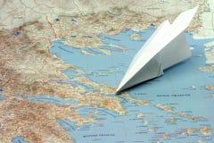 Reis naar Griekenland door vliegtuig Stock Fotografie