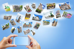 Reis naar het concept Nederland van Amsterdam Stock Fotografie