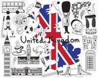 Reis naar het Verenigd Koninkrijk Engeland en de krabbelpictogram van Schotland Stock Foto