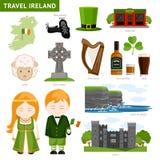 Reis naar Ierland Ierse mensen Inzameling van vlakke pictogrammen aan gids stock illustratie