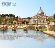 Reis naar Italië Mening bij St Peter ` s kathedraal in Rome royalty-vrije illustratie