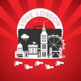 Reis naar Londen Engeland Rode Oriëntatiepuntenmonumenten royalty-vrije stock foto's