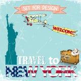 Reis naar New York, V.S., voor ontwerp worden de geplaatst dat Vector illustratie Stock Afbeelding