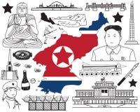 Reis naar Noord-Korea als u het pictogram van de krabbeltekening kunt Stock Fotografie