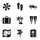 Reis naar overzeese geplaatste pictogrammen, eenvoudige stijl Royalty-vrije Stock Foto's