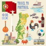 Reis naar Portugal De reis vectorkaart van Portugal in heldere vlakke stijl met de gebouwen van Lissabon en Portugese herinnering royalty-vrije illustratie