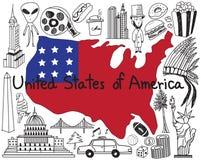 Reis naar Verenigde staat van het pictogram van de de krabbeltekening van Amerika Royalty-vrije Stock Afbeelding