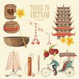 Reis naar Vietnam Reeks traditionele Vietnamese culturele symbolen vector illustratie