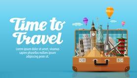 Reis naar Wereld open koffer met oriëntatiepunten, vectorillustratie Stock Afbeelding