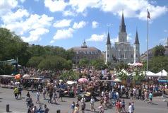 Reis-nieuw die Vierkant Orléans-Jackson met Mensen wordt gevuld royalty-vrije stock afbeeldingen