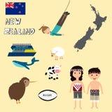Reis Nieuw Zeeland met kaart, walvis het letten op, het bungy springen Royalty-vrije Stock Afbeelding