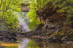 Reis, noordoostelijk Ohio, de V.S., zonstralen, wildernis, wildernis, bos, brug, canion, george, aard bij zijn beste stock foto's
