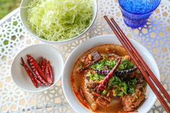 Reis-Nudeln mit würziger Schweinefleischsoße stockfotos