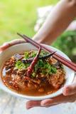 Reis-Nudeln mit würziger Schweinefleischsoße lizenzfreies stockfoto