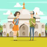 Reis op de Vlakke Achtergrond van India stock illustratie