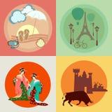 Reis over Europa en Azië: Frankrijk, Japan, Spanje, pictogrammen Royalty-vrije Stock Fotografie
