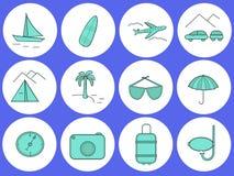 Reis Reeks ronde pictogrammen op het thema van de reis royalty-vrije stock foto's