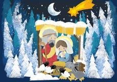 Reis religiosos da ilustração três - e família santamente na cena do inverno - cena tradicional ilustração do vetor