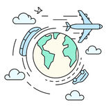 Reis rond de aarde, vervoer Stock Foto's