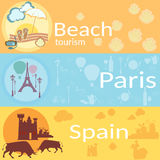 Reis rond de wereld: Frankrijk, Spanje, stranden, toevlucht, banners Stock Fotografie