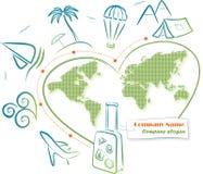 Reis rond de wereld (pictogrammen) Stock Afbeelding