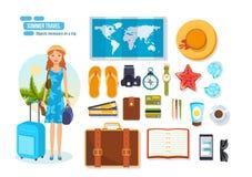 Reis, rust op overzees, noodzakelijk op reis en gebrachte voorwerpen royalty-vrije illustratie