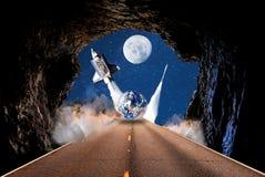 Reis toerisme de ruimte van de sterrenroute kosmisch vervoer royalty-vrije illustratie