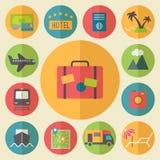 Reis, toerisme en vakantie geplaatste pictogrammen, vlak Stock Fotografie