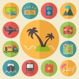 Reis, toerisme en vakantie geplaatste pictogrammen, vlak Royalty-vrije Stock Fotografie