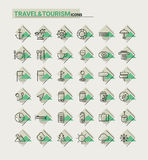 Reis, toerisme en weerpictogrammen, reeks 2 Stock Afbeelding