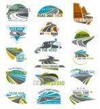 Reis of toerisme geplaatste pictogrammen van de agentschap de vectorweg vector illustratie