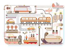 Reis, toerisme, vervoer - vectorillustratie Stock Afbeelding
