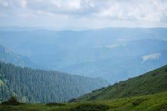Reis, trekking De zomerlandschap - bergen, groen gras, bomen en blauwe hemel Horizontaal kader Royalty-vrije Stock Afbeeldingen