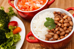 Reis und Bohnen Stockfotografie