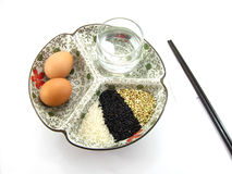 Reis und Ei zum Frühstück Stockbild