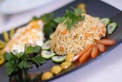 Reis und Fische lizenzfreies stockfoto
