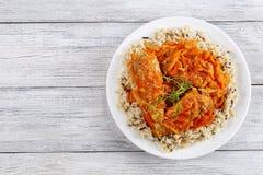 Reis und Fische gedünstet mit Gemüse lizenzfreie stockbilder