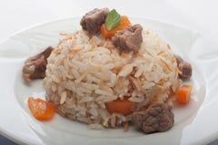 Reis und Fleisch Stockbild