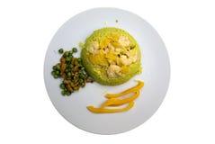 Reis und Garnelen-Platte Lizenzfreies Stockbild