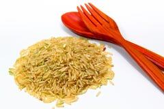 Reis und Löffel Stockfotografie