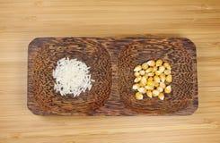 Reis und Mais Stockfoto